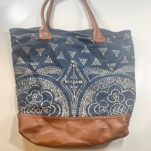 Old Navy Faux Leather Denim Aztec Print Tote